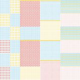 Geometrical and checkered background. Seamless pattern with geometrical on striped and checkered colorful background Stock Photos