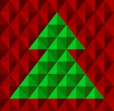 Geometrical Christmas tree, snowflake background. Abstract geometrical Christmas tree, with snowflake background in red and green colors. Vector illustration Royalty Free Stock Photo