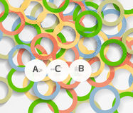 Geometrical circles on white with shadows. Abstract background stock illustration