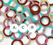 Geometrical circles on white with shadows. Abstract background vector illustration