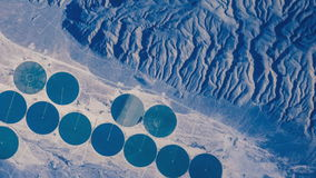 Geometrical circular designs seen from Space stock footage