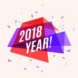Geometrical colorful banner 2018 year, speech bubble for greetin vector illustration