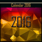 Geometrical cover of calendar of New Year 2016 illustration. Geometrical polygonal cover of calendar of New Year 2016 illustration Stock Photography