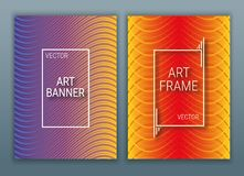 Geometrical covers design poster with a frame. Colorful background with gradients. Purple, red and orange color. vector illustration