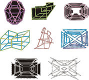 Geometrical decorative 3D figures and mazes Royalty Free Stock Image