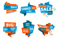 Geometrical design forms for banners of shopping price of. Big sales and special offers. Vector design set Stock Image