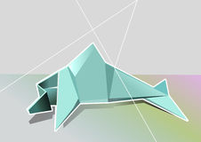 Geometrical dolphin. Stylised minimalistic origami dolphin with a background stock illustration