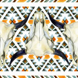 Geometrical ethnic seamless pattern with cow skull Vector Illustration