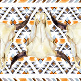 Geometrical ethnic seamless pattern with cow skull Royalty Free Illustration