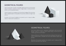 Geometrical Figure Text Sample Vector Illustration. Geometrical figures text sample and headlines cube and cone, triangular prism and geometrical figures, vector Stock Photos