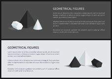 Geometrical Figures 3D Set Vector Illustration. Geometrical figures 3D set with text and letterings, square and pentagonal pyramid, prisms and geometrical Royalty Free Stock Image