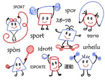 Geometrical figures, drawn with crayons and colored pencils with character and in various poses, play sports, a healthy vector illustration