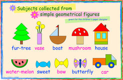 Geometrical figures. The paper designer for children. Subjects collected from simple geometrical figures royalty free illustration