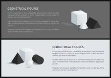 Geometrical Figures Poster Vector Illustration. Geometrical figures posters collection, square pyramid, sphere and cube, blunted cone and geometrical fugures set Royalty Free Stock Image