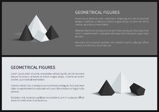 Geometrical Figures Posters Vector Illustration. Geometrical figures posters with headlines, square pyramid and hexagonal prism, geometric figures, vector Stock Photos