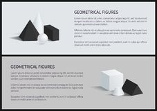 Geometrical Figures Set Banner Vector Illustration. Geometrical figures set banner, text sample and lettering, blunted cone and cube, square pyramid, geometrical Stock Photos
