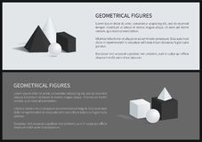 Geometrical Figures Set Text Vector Illustration. Geometrical figures set of posters with text sample, square pyramid, sphere and cube, geometrical figures Royalty Free Stock Images
