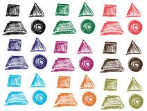 Geometrical figures sketch pattern. Hand drawn image with colorful gemetrical figures Stock Photography