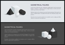 Geometrical Figures and Text Vector Illustration. Geometrical figures and text sample, cube and square pyramid, sphere and cylinder, geometrical figures set Royalty Free Stock Photography