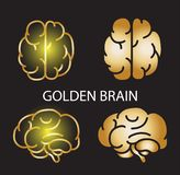 Geometrical golden brain collection on black background. vector illustration