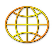 Geometrical Golden Globe. Computer Generated Metallic Gold Globe Royalty Free Illustration