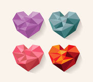 Geometrical heart. love. Set of design elements Stock Images
