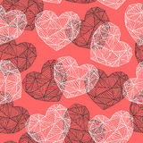Geometrical hearts seamless pattern Royalty Free Stock Images