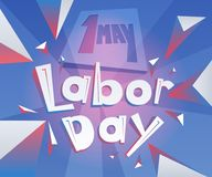 Geometrical lettering 1 May Labor Day. International Workers Day. Text with backgroung illustration Royalty Free Illustration