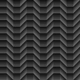 Geometrical linie cienili cubical bezszwowego fala wzór na czerni Obrazy Stock