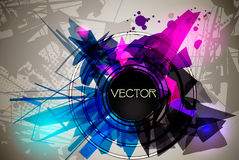 Geometrical-music. Abstract background with the central banner for the text. EPS 10 vector illustration