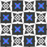 Geometrical ornament with gray squares and blue flower Royalty Free Stock Photo