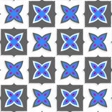 Geometrical ornament with gray squares and blue flower on white Royalty Free Stock Photos