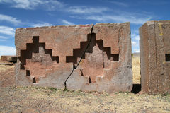 Geometrical patter wall in Kalasyaya Temple. Geometrical patter wall in Kalasayaya temple, Tiahuanaco, Bolivia Royalty Free Stock Photography