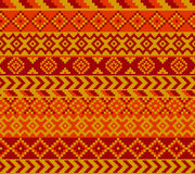 Geometrical pattern. Cozy pixel styled patern painted with warm colors Stock Image