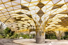 Geometrical Pattern of the pavilion in the Perdana Botanical Park, Kuala Lumpur.  stock photo