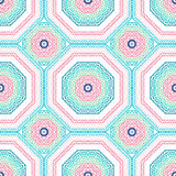 The geometrical pattern tile. Bright pink, blue pattern.Tribal texture. Vector. Royalty Free Stock Photography