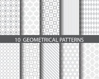 10 geometrical patterns. 10 gray geometrical patterns, Pattern Swatches, vector, Endless texture can be used for wallpaper, pattern fills, web page,background Stock Photography