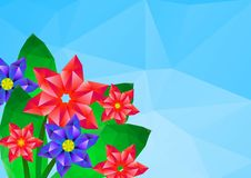 Geometrical polygonal hipster flower card Royalty Free Stock Photos