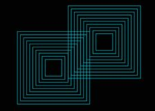 Geometrical print, neon squares on black background stock illustration