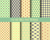 10 geometrical retro patterns. Endless texture can be used for wallpaper, pattern fills, web page background,surface textures vector illustration