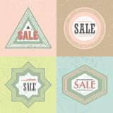 Geometrical retro SALE emblem and stickers icons set. Geometrical retro different shapes SALE emblem and stickers icons set on trendy matte colors backgrounds Royalty Free Stock Image