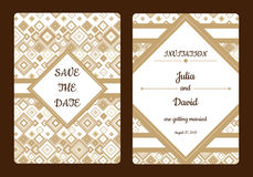 Geometrical save the date or wedding invitation card. Vintage vector romantic card template. Royalty Free Stock Photo
