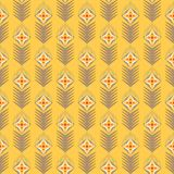 Geometrical seamles vector pattern with flowers. On yellow background Stock Photo