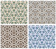 Geometrical seamless background. In 4 color variations Stock Photography