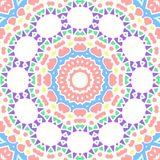 Geometrical seamless color flowers circles  pattern. Seamless pattern with geometrical flowers and circles in purple pink blue green yellow colors on a white Stock Photography