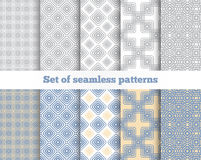 Geometrical seamless pattern. Gray, blue, yellow Stock Photo