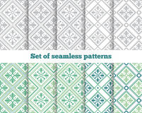 Geometrical seamless pattern. Gray, green, tile. Royalty Free Stock Photography