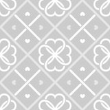 Geometrical seamless pattern with hearts. Geometrical seamless vector pattern with clover leaves and hearts Royalty Free Stock Images