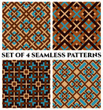 Geometrical seamless patterns with celtic ornament of brown, blue, and beige shades Stock Photography