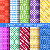 10 geometrical seamless patterns, Pattern Swatches, vector. Texture can be used for wallpaper, pattern fills, web page, background Royalty Free Stock Image